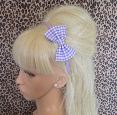 "LILAC WHITE GINGHAM PRINT FABRIC SMALL 3/"" SIDE BOW SATIN ALICE HAIR HEAD BAND"
