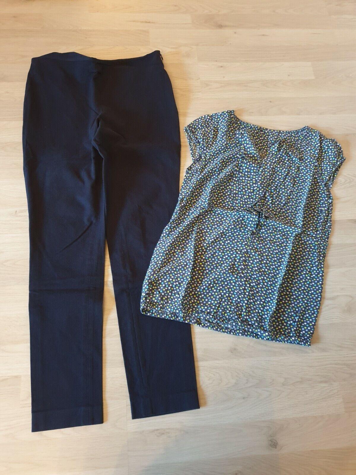 Damen Paket Set = Freizeit Hose dunkelblau + Shirt / Top gepunktet Gr. S / M