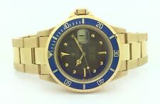 Rare Mens Rolex #1680 Vintage 18K Yellow Gold Tropical Coffee Submariner Watch