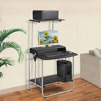 Foldable Computer Desk W/ Printer Shelf Laptop Home Office Stand Study Table