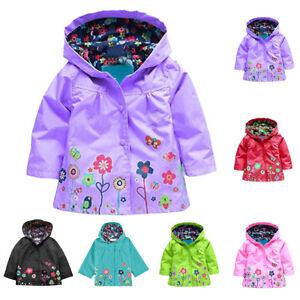 1X-Enfants-Fille-Veste-Pluie-Impermeable-Capuchon-Imprime-Fleur-Raincoat-Manteau