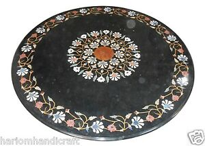 """24""""x24"""" Marble Coffee Table Top Marquetry Gemstone Mosaic Inlaid Home Arts H1600"""