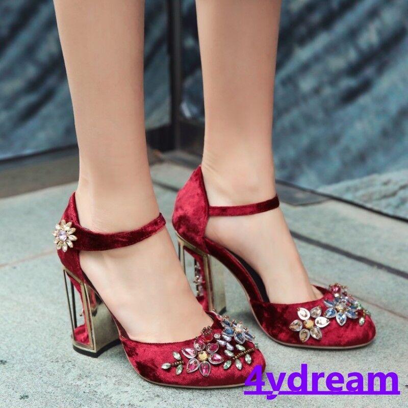 Ladies Round Toe Rhinestone Block High Birdcage Heel Pleuche Womens Shoes  1205