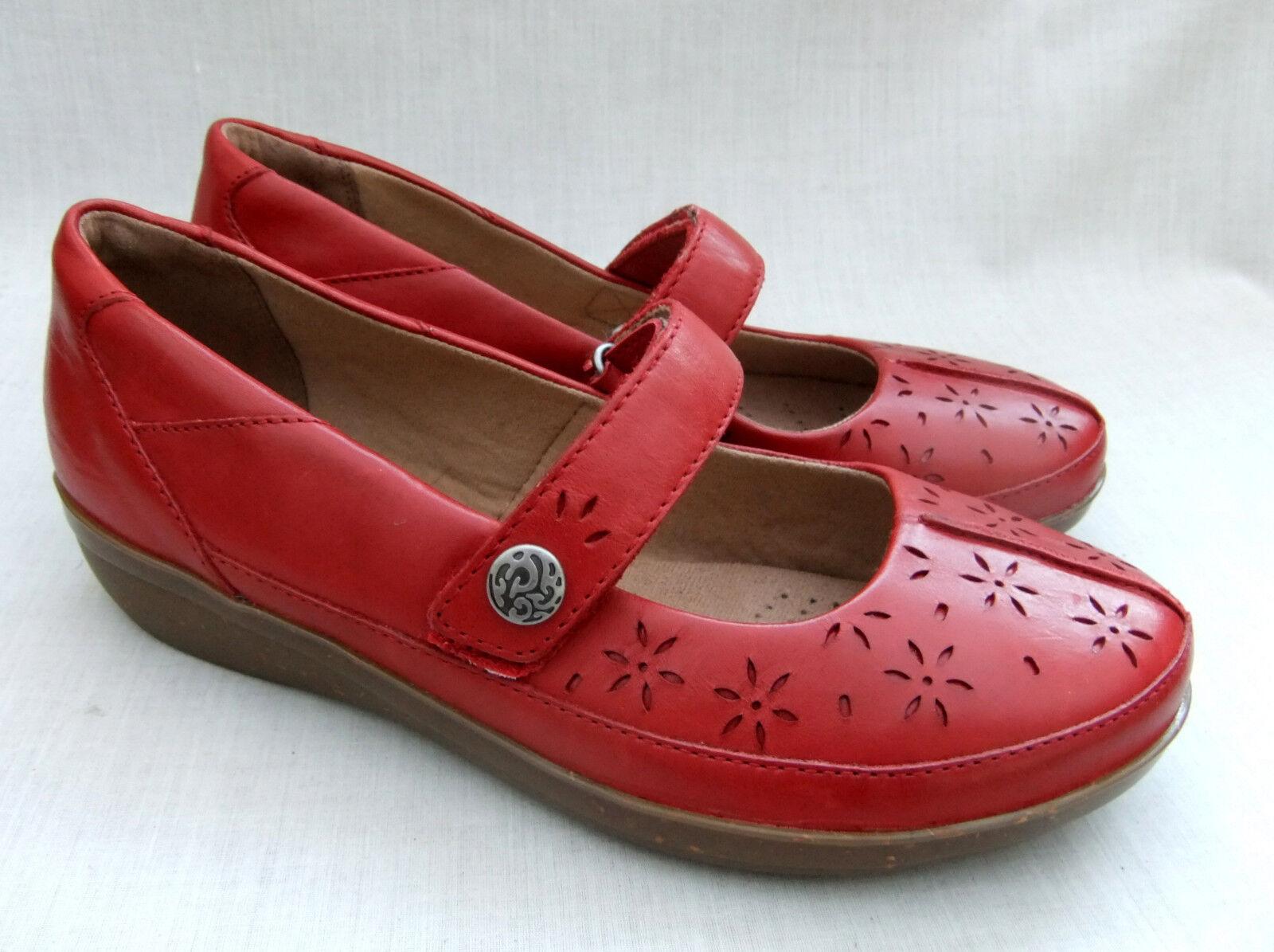 New Clarks everlay Bai pour femme en cuir Rouge Pointure 7 41