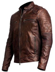 Da Uomo Biker moto vintage effetto anticato marrone Cafe Racer Leather Jacket