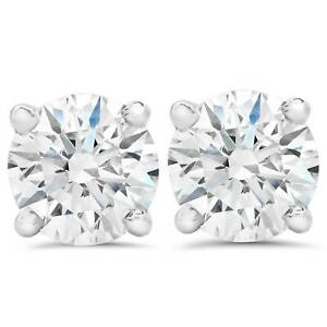 F VS 1.50ct Lab Grown Diamond Studs 14k White Gold Screw Backs