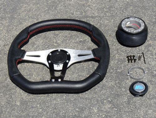 Black//Red Stitch Race Steering Wheel+Hub 90-93 Accord