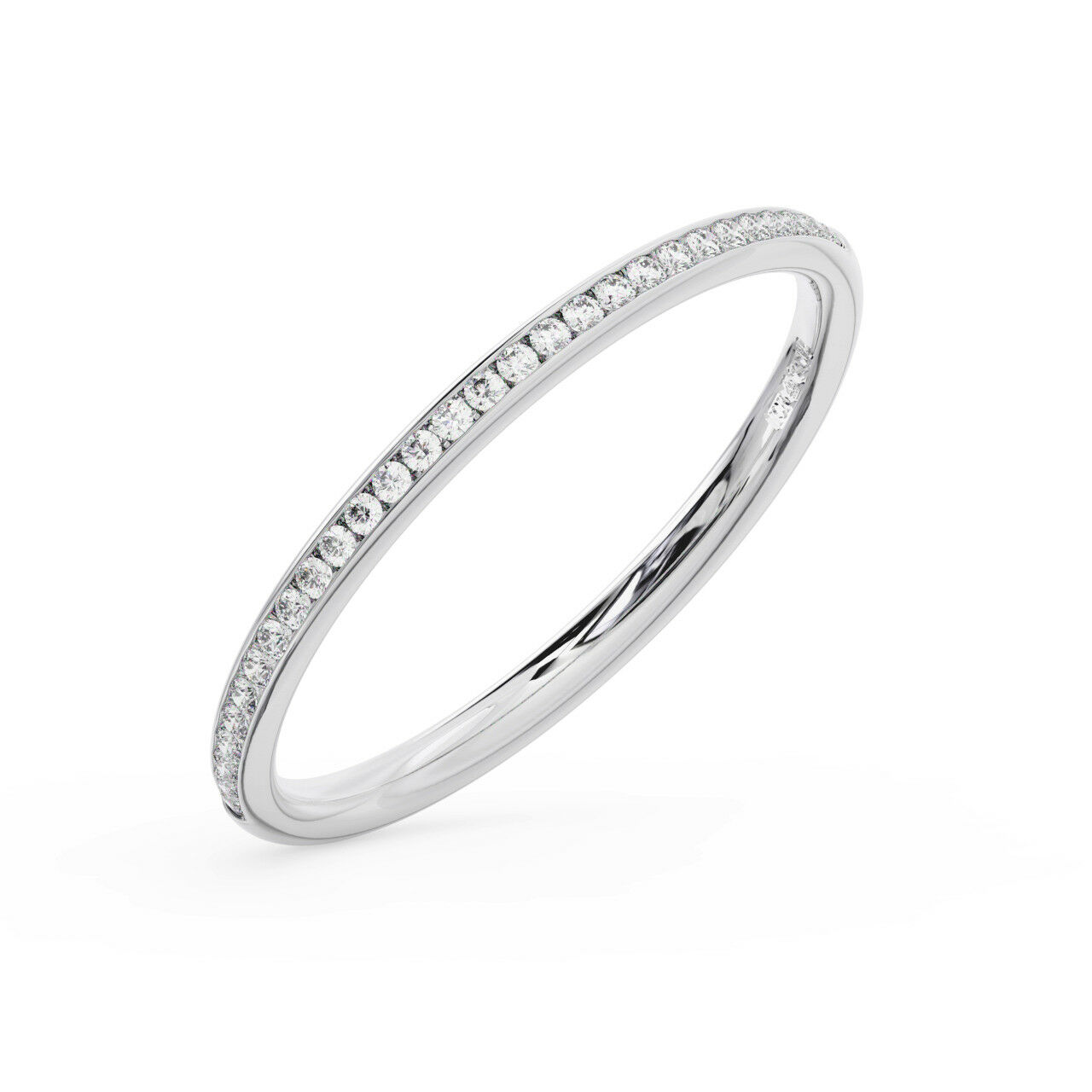 2mm Channel Set Round Brilliant Diamond Half Eternity Ring Available in Platinum