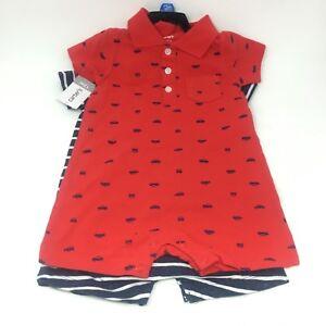 Carters-Baby-Boy-2-Pieces-Rompers-Bodysuits-Multi-Color-Blue-Whale-12M-24M-NEW