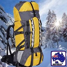 f7842bb02a 80L Backpack RUCKSACK Adjustable Hiking Bag Sport Yellow Black Blue OBBAG13