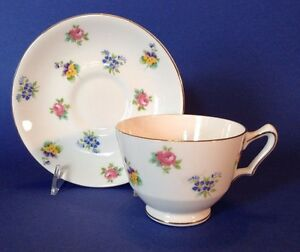 Crown-Staffordshire-Cup-And-Saucer-Chintz-Roses-Pansies-Forget-Me-Nots-England