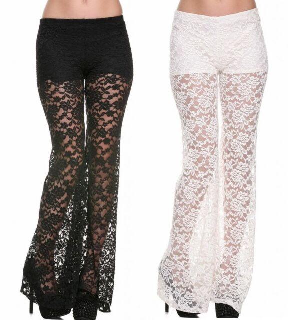 Ivory or Black Gorgeous Stretch Lace Flare Leg Long Pants Shorts Lining 34