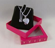 """PLAYBOY Bunny PLAYMATE Locket NECKLACE 16"""" SILVER Plated HEART Bunny TRADEMARK"""
