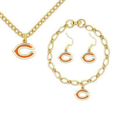 Chicago Bears BRACELET NECKLACE & DANGLE EARRINGS CHARM SET NFL JEWELRY