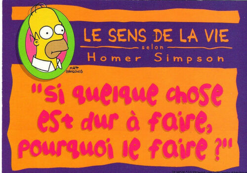 "CARTE POSTALE /"" THE SIMPSONS /"" 1998 BART HOMER LISA MARGE N°9 LE SENS DE LA VIE"