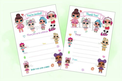 LOL DOLL Party Invitations//Invites or Thank You Notes X20//No envelopes