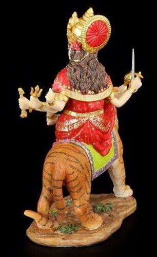 Durga Figurine Coloré Chevauchant sur Tiger Déesse Hindoue Bouddha