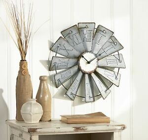 Metal Windmill Wall Clock with Distressed Finish and Roman Numerals