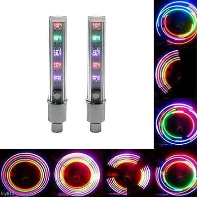2pcs Colors Chic LED Flash Light Wheel Tyre Valve Cap Decoration For Car Bicycle