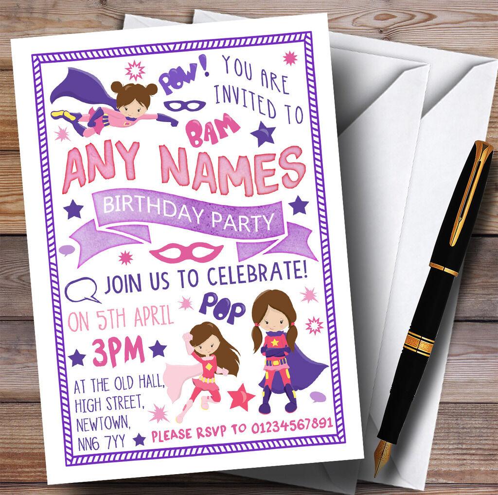 Girls Superhero Invitations Childrens Birthday Party Ea09fb