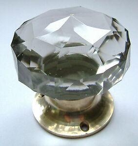glass door knobs, large crystal cut multifaceted Brass base (pairs ...