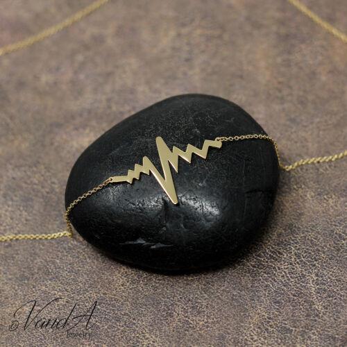 Sterling silver 925 Lifeline Pulse Necklace Heart Beat Pendant Necklace N03