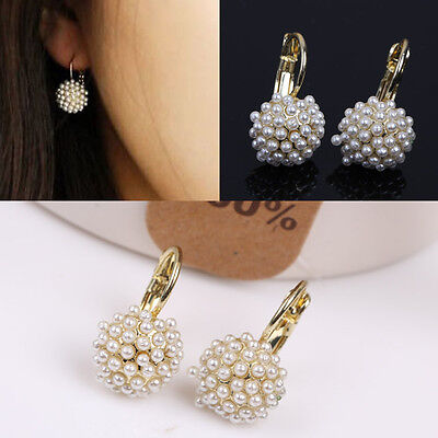 New 1Pair Small Imitate Pearl Spherical Ball Dangle Fashion Earrings Gold Plated