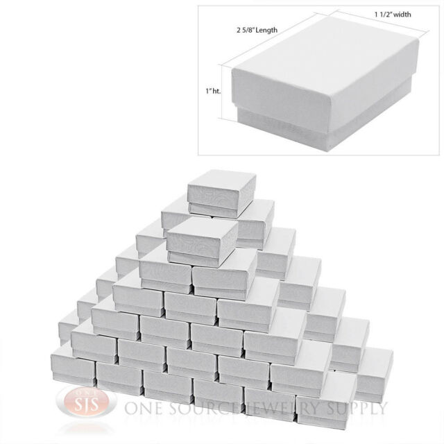 """50 White Swirl Cardboard Cotton Filled Jewelry Gift Boxes  2 5/8"""" X 1 1/2"""" X 1"""""""