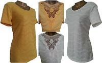 Women Ladies M&S PER UNA Textured Crochet Lace Back Top Blouse Tunic T-Shirt