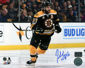 Patrice Bergeron Boston Bruins Signed Autographed Home Action 3rd Jersey 8x10