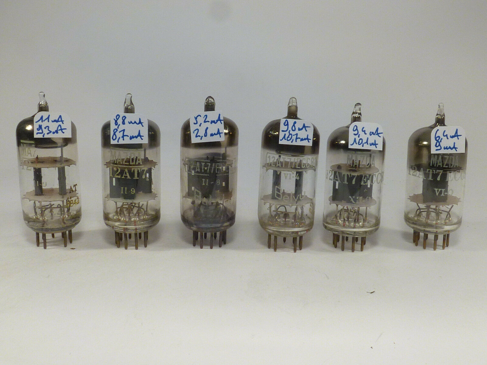 6  ECC81 12AT7 Mazda & Belvu all tested near NOS, for guitare amplifier etc