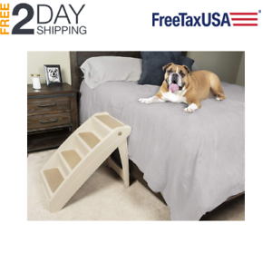 Merveilleux Details About Portable Pet Stairs X Large Foldable 4 Steps Dog Cat Chair  Tall Bed Ladder Ramp