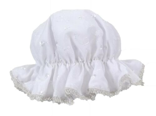 One Size Summer Sun Hat Baby Girls White Broderie Anglaise Mop Hat 0-9 Mth