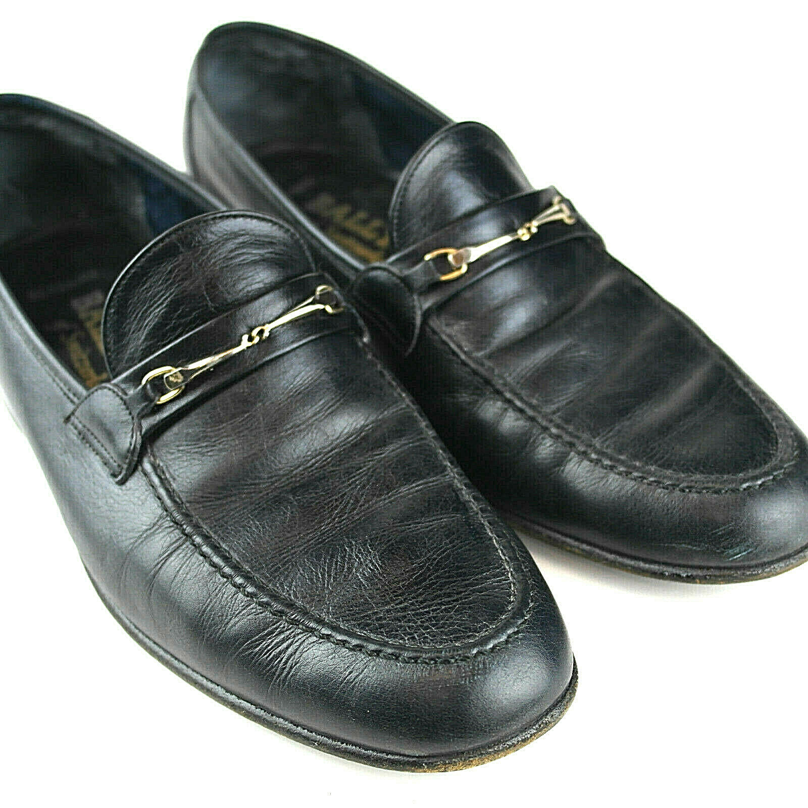 BALLY Bergamo Femme Taille 8 Slip-On Mocassins-Suisse Chaussures en Cuir Noir