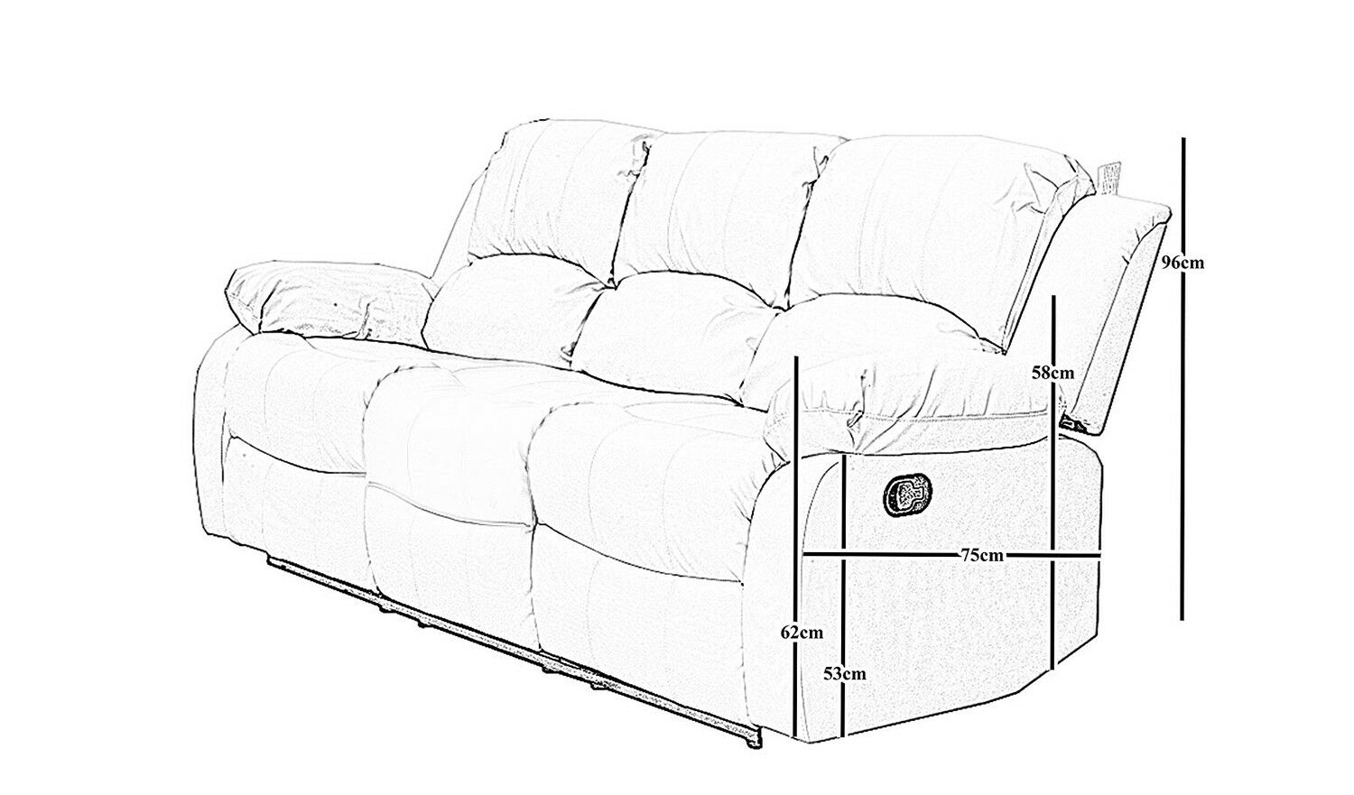 Athon Furniture Black 3 Seater Double Recliner Sofa