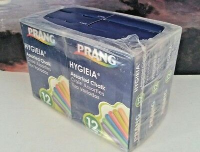PRANG HYGIEIA DUSTLESS CHALK 12 BOXES WITH 12 ASSORTED COLORED STICKS IN EACH