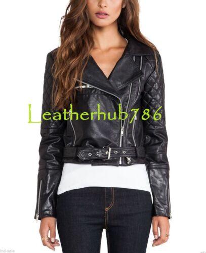 motard Lady femme Real noir cuir 108 en Partie Veste Casual Party New Office d'agneau Rwfdxdn