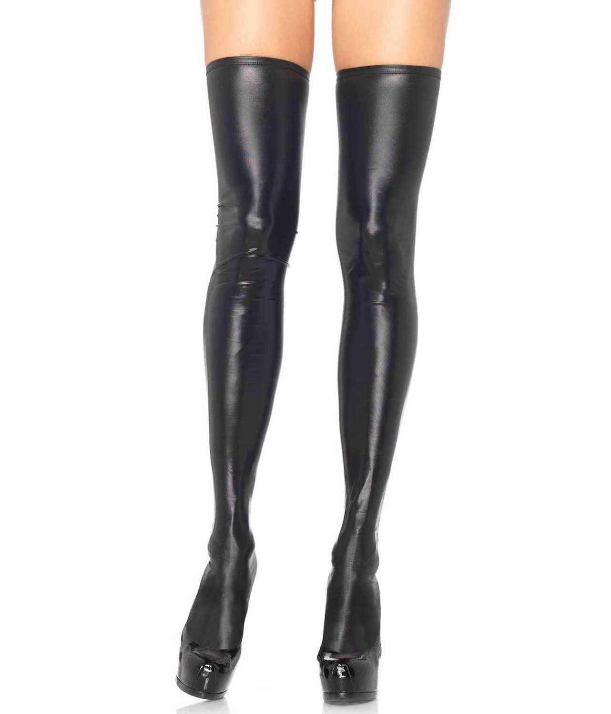 Leg AVENUE alto Wet Look alto AVENUE del muslo Medias 1 Par. 95% Poliéster 5% Spandex. Negro 8c900a
