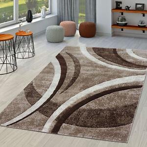 Merveilleux Das Bild Wird Geladen Teppich Wohnzimmer Gestreift Modern  Mit Konturenschnitt In Braun