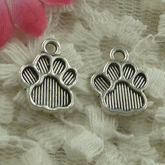 free ship 100 pieces Antique silver bear/'s-paw charms 15x12mm #4027
