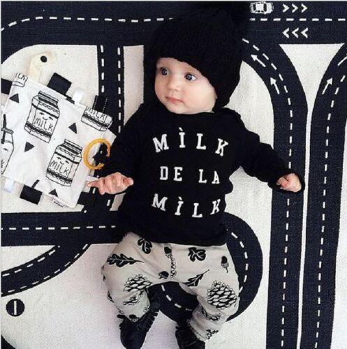 2PCS Toddle Bébé Garçons Tenues lettres Tops Pantalons Set Enfants Décontracté Vêtements Sets