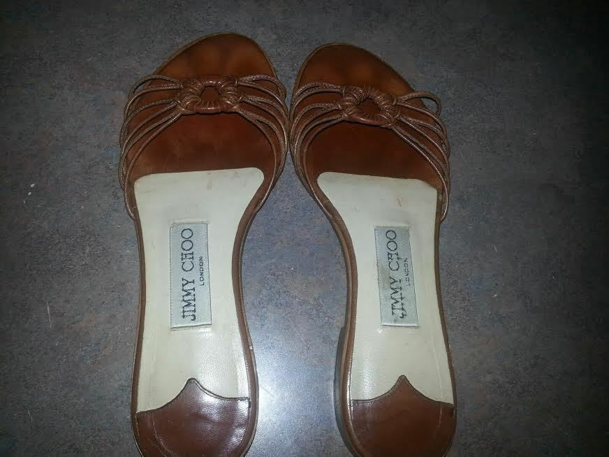Women's Jimmy Choo Brown Leather Flats Sandals Sandals Sandals shoes SIZE 35 e3408d
