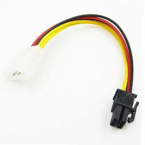 4 to 6-Pin Molex 2 X PCI-E Graphic Card Power Connector Cable Adapter BSG