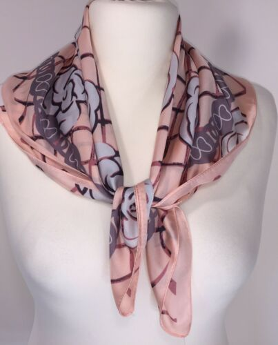 Designer Inspired Scarf Silk Pink Floral Silky Soft Cool Square  Neckerchief NEW