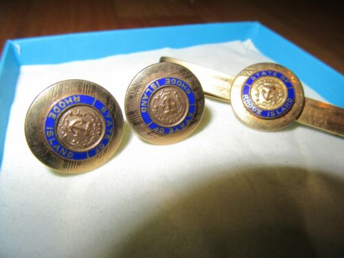11K/VINTAGE STATE OF RHODE ISLAND CUFF LINKS + TIE