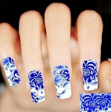 Blue and White Porcelain Nail Art Sticker Nail Decals Decor Manicure Tips Art