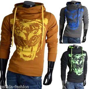 the best attitude fe983 d04a2 Details zu Herren Damen Pullover Pulli Kragen Sweatshirt Hoodie Shirt Tiger  Löwe S-XXL NEU