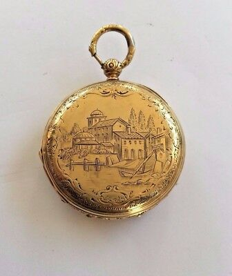 "Antique Nice Antique Very Rare ""jules Huguenin"" Engraved Pocket Watch Geneve 18k Gold ! Watches, Parts & Accessories"