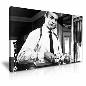 Image is loading SEAN-CONNERY-007-James-Bond-Canvas-Framed-Print-  sc 1 st  eBay & SEAN CONNERY 007 James Bond Canvas Framed Print Wall Art ~ More Size ...