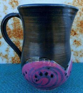 """N. Bishop Art Pottery Vintage Pink Black Pitcher Vase Signed apx 6"""" tall"""